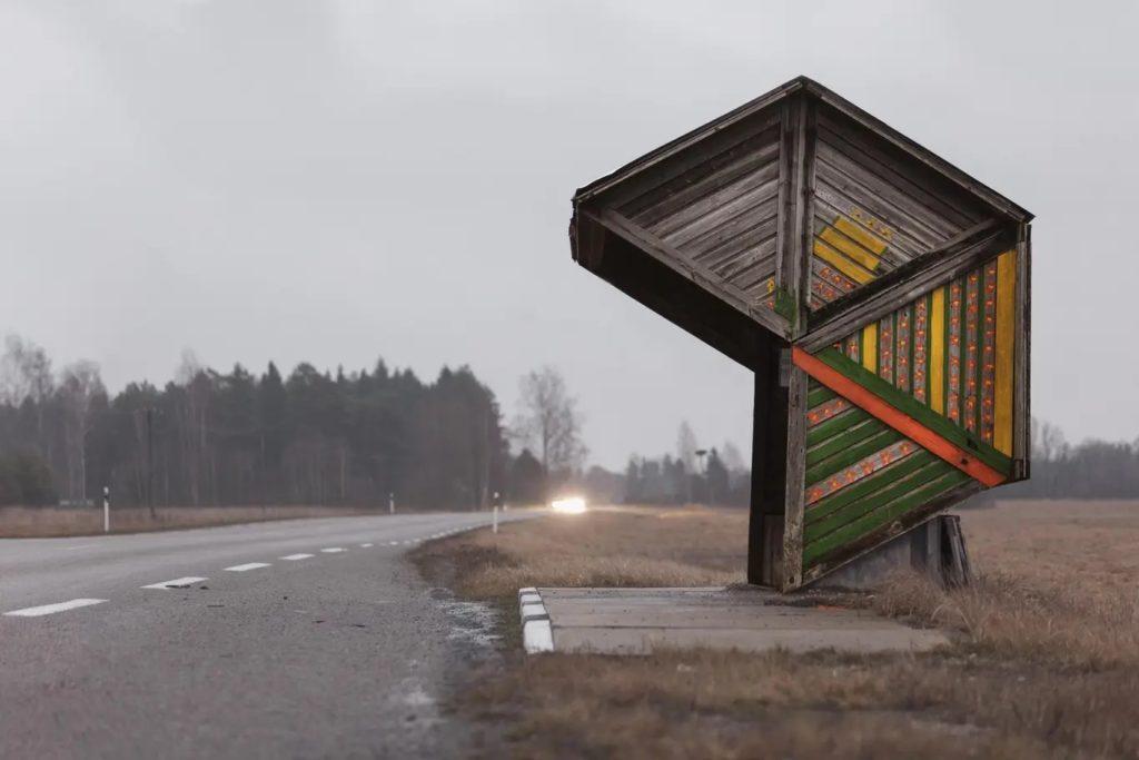 An Estonian wooden bus stop