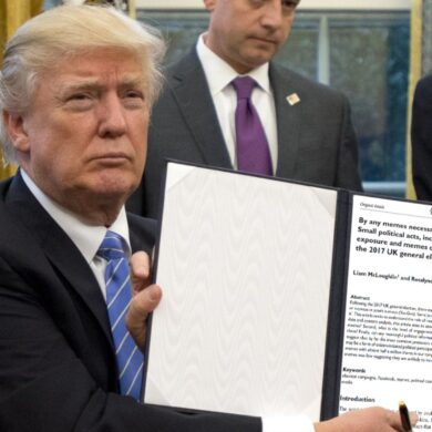 Meme: Donald Trump holding a photoshoped copy of our meme paper.