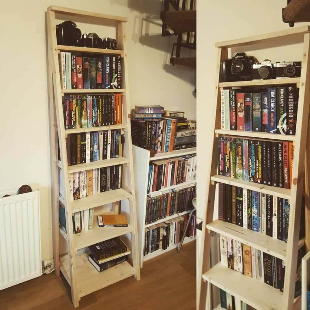 Picture of the finished ladder shelves